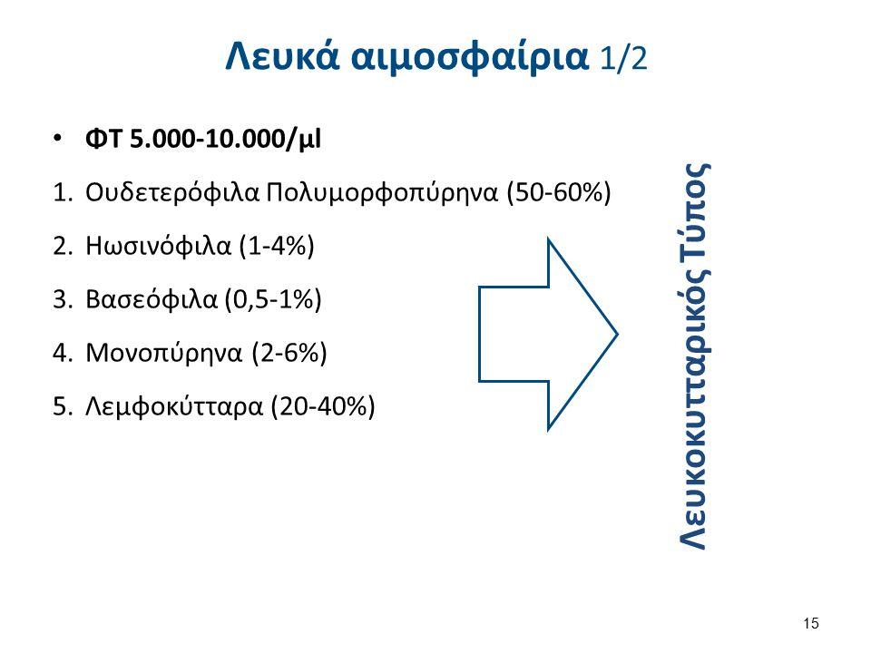 Λευκά αιμοσφαίρια 1/2 ΦΤ 5.000-10.000/μl 1.Ουδετερόφιλα Πολυμορφοπύρηνα (50-60%) 2.Ηωσινόφιλα (1-4%) 3.Βασεόφιλα (0,5-1%) 4.Μονοπύρηνα (2-6%) 5.Λεμφοκ