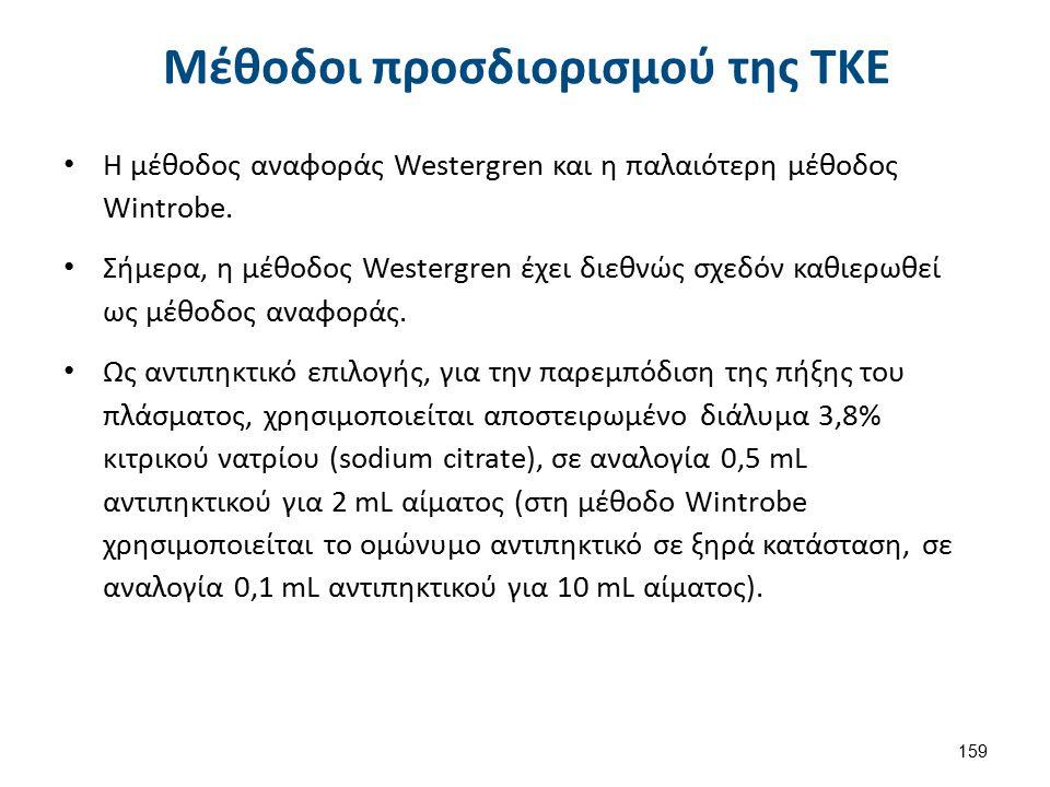 159 Μέθοδοι προσδιορισμού της ΤΚΕ Η μέθοδος αναφοράς Westergren και η παλαιότερη μέθοδος Wintrobe. Σήμερα, η μέθοδος Westergren έχει διεθνώς σχεδόν κα
