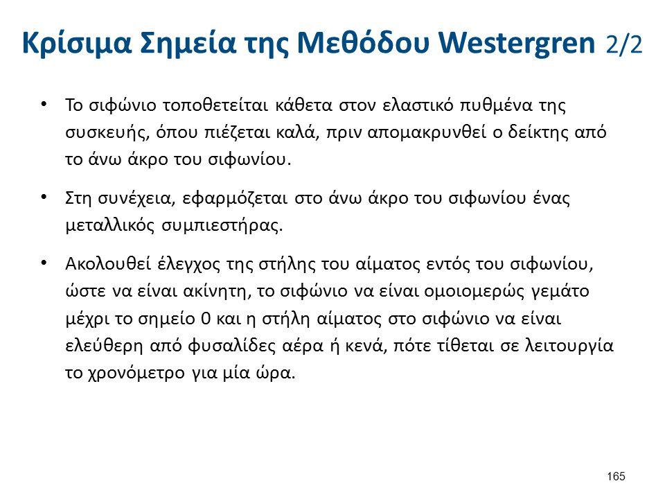 Κρίσιμα Σημεία της Μεθόδου Westergren 2/2 165 Το σιφώνιο τοποθετείται κάθετα στον ελαστικό πυθμένα της συσκευής, όπου πιέζεται καλά, πριν απομακρυνθεί