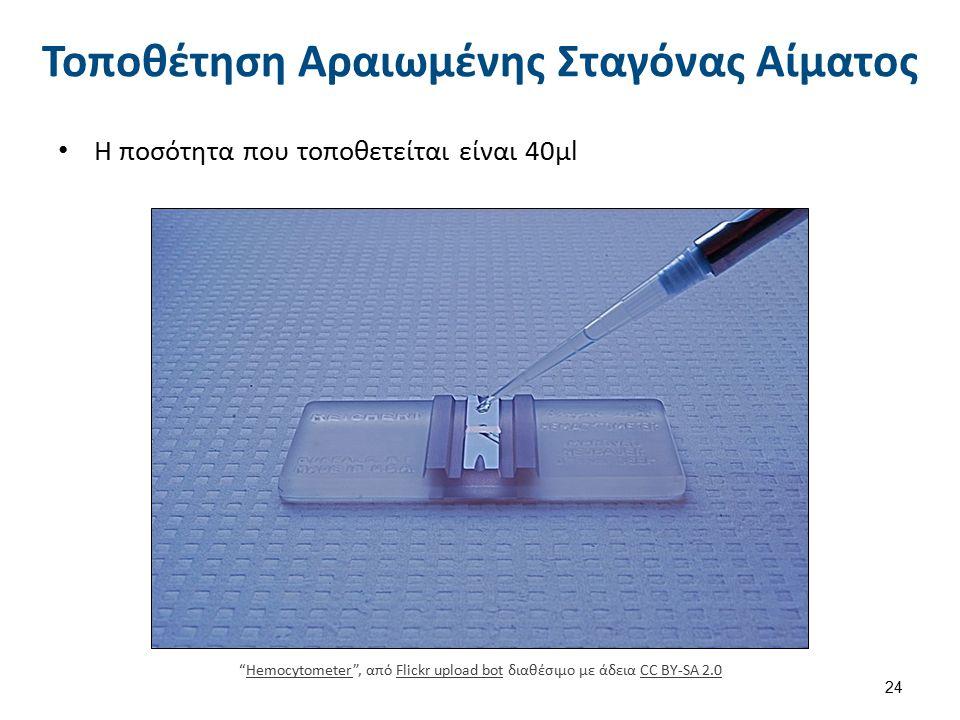 Τοποθέτηση Αραιωμένης Σταγόνας Αίματος H ποσότητα που τοποθετείται είναι 40μl Hemocytometer , από Flickr upload bot διαθέσιμο με άδεια CC BY-SA 2.0HemocytometerFlickr upload botCC BY-SA 2.0 24