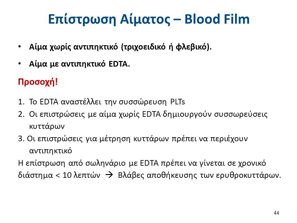 Επίστρωση Αίματος – Blood Film Αίμα χωρίς αντιπηκτικό (τριχοειδικό ή φλεβικό). Αίμα με αντιπηκτικό EDTA. Προσοχή! 1.Το EDTA αναστέλλει την συσσώρευση