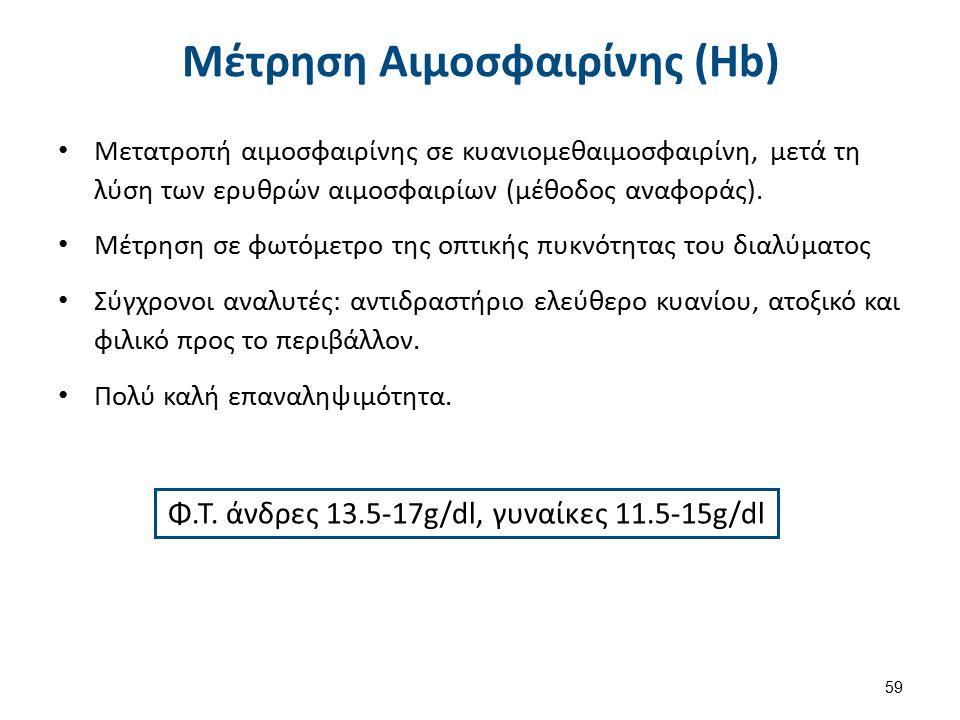 Φ.Τ. άνδρες 13.5-17g/dl, γυναίκες 11.5-15g/dl Μέτρηση Αιμοσφαιρίνης (Hb) Μετατροπή αιμοσφαιρίνης σε κυανιομεθαιμοσφαιρίνη, μετά τη λύση των ερυθρών αι