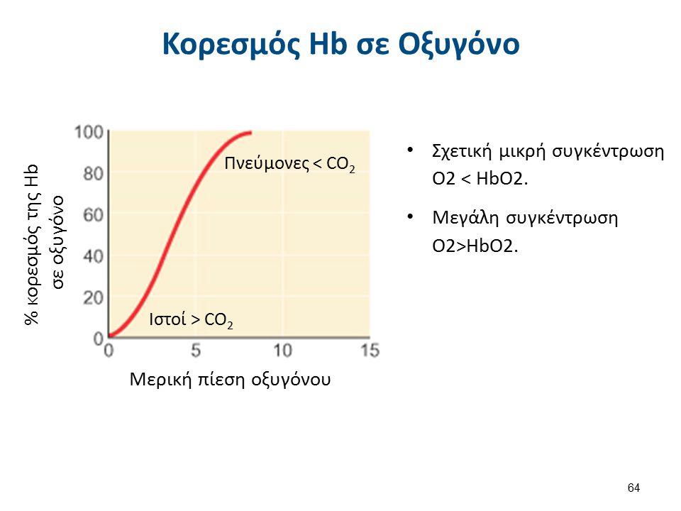 Μερική πίεση οξυγόνου % κορεσμός της Hb σε οξυγόνο Πνεύμονες < CO 2 Ιστοί > CO 2 Κορεσμός Hb σε Οξυγόνο Σχετική μικρή συγκέντρωση O2 < HbO2. Μεγάλη συ