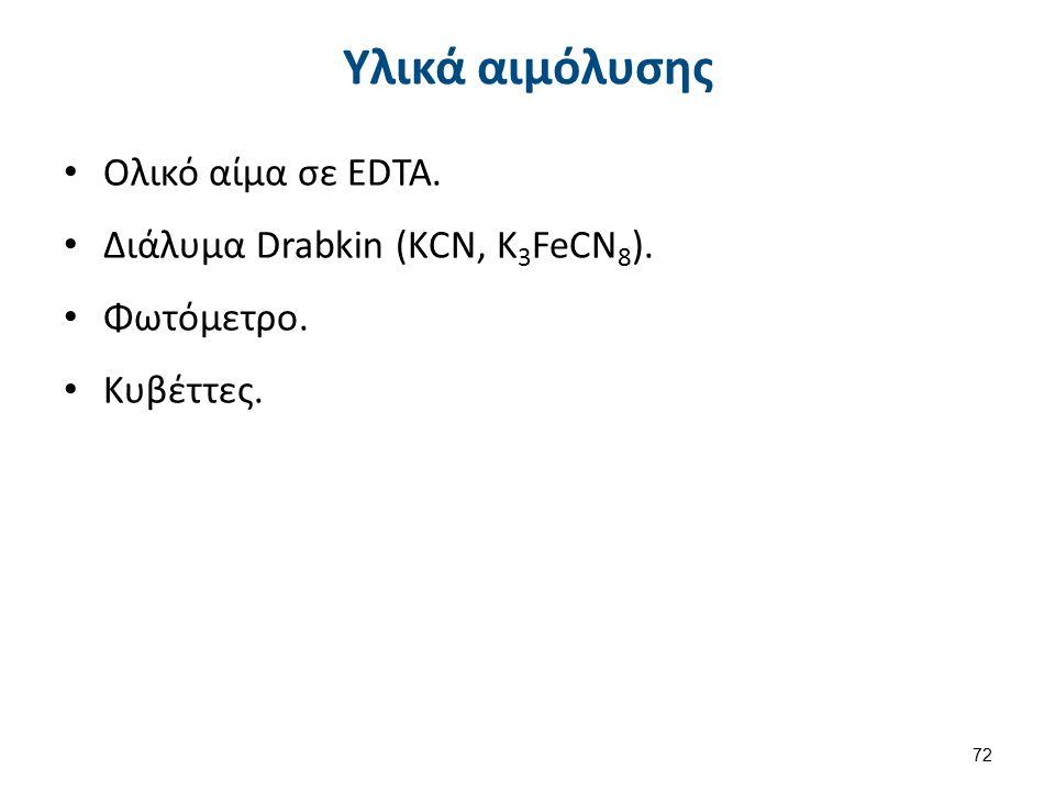 Υλικά αιμόλυσης Ολικό αίμα σε EDTA. Διάλυμα Drabkin (ΚCN, K 3 FeCN 8 ). Φωτόμετρο. Κυβέττες. 72