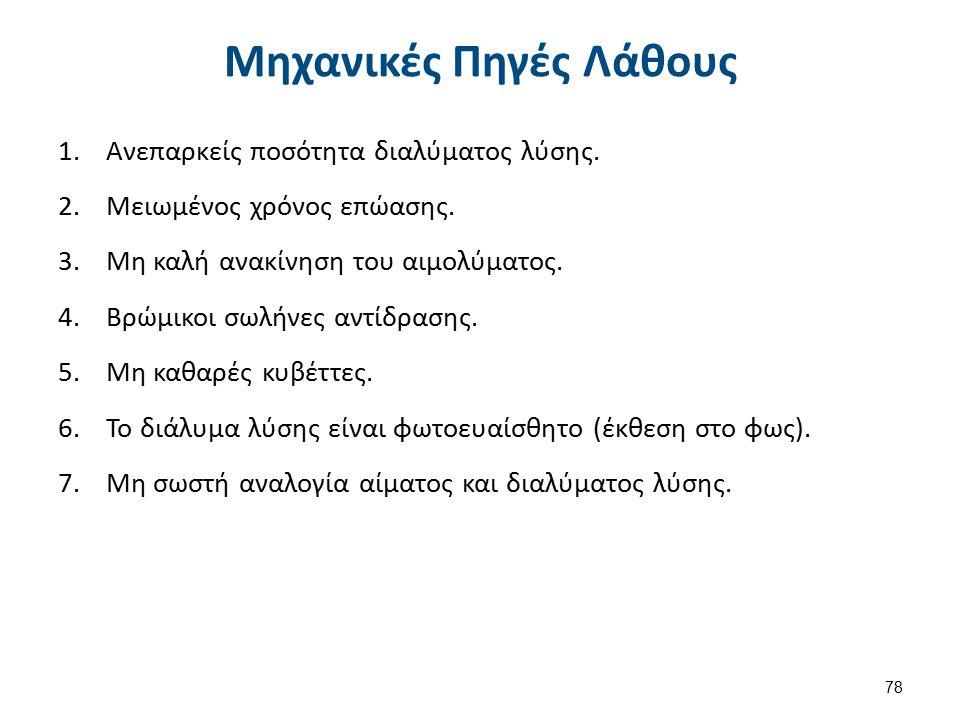 Μηχανικές Πηγές Λάθους 1.Ανεπαρκείς ποσότητα διαλύματος λύσης.