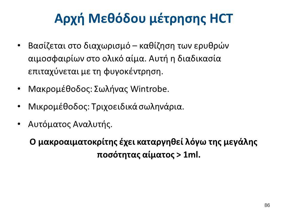 Αρχή Μεθόδου μέτρησης HCT Βασίζεται στο διαχωρισμό – καθίζηση των ερυθρών αιμοσφαιρίων στο ολικό αίμα. Αυτή η διαδικασία επιταχύνεται με τη φυγοκέντρη
