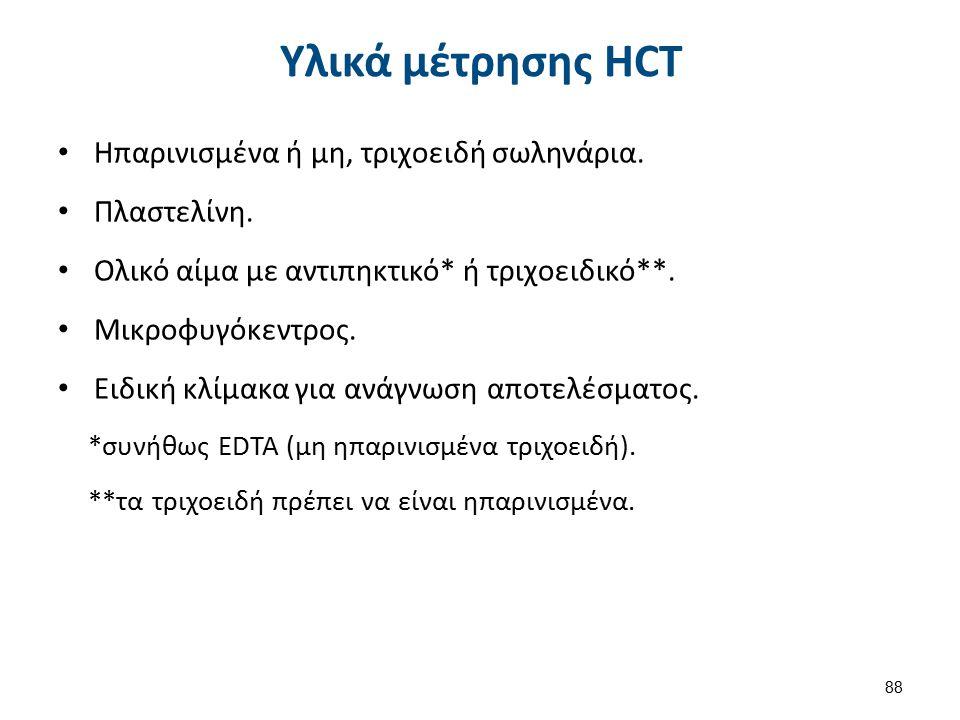 Υλικά μέτρησης HCT Ηπαρινισμένα ή μη, τριχοειδή σωληνάρια. Πλαστελίνη. Ολικό αίμα με αντιπηκτικό* ή τριχοειδικό**. Μικροφυγόκεντρος. Ειδική κλίμακα γι