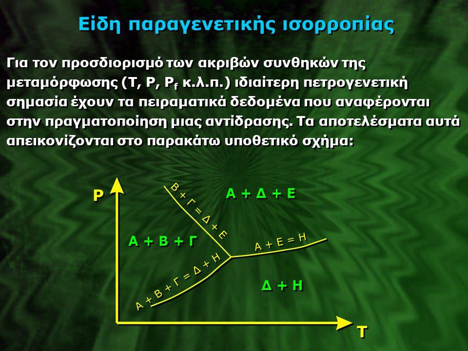 Είδη παραγενετικής ισορροπίας Για τον προσδιορισμό των ακριβών συνθηκών της μεταμόρφωσης (T, P, P f κ.λ.π.) ιδιαίτερη πετρογενετική σημασία έχουν τα π
