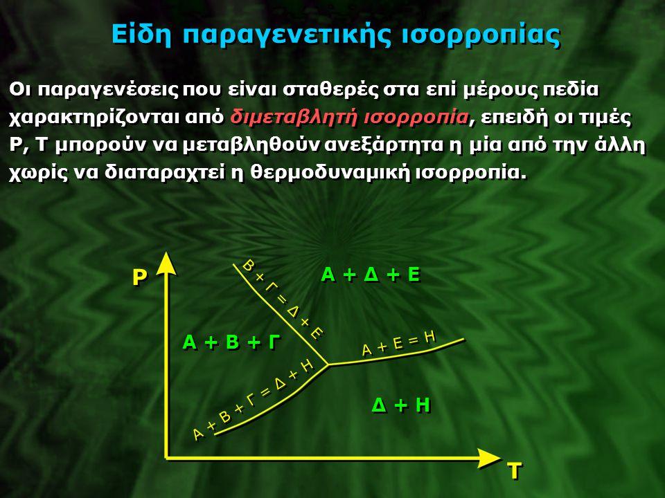 Είδη παραγενετικής ισορροπίας Οι παραγενέσεις που είναι σταθερές στα επί μέρους πεδία χαρακτηρίζονται από διμεταβλητή ισορροπία, επειδή οι τιμές P, T