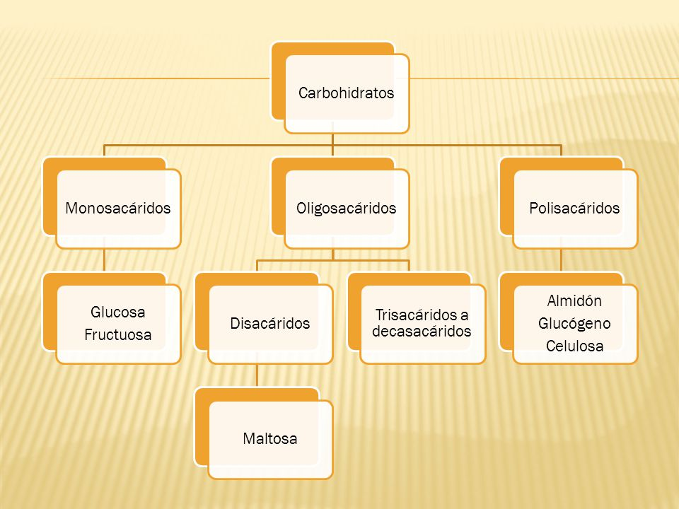 CarbohidratosMonosacáridos Glucosa Fructuosa OligosacáridosDisacáridosMaltosa Trisacáridos a decasacáridos Polisacáridos Almidón Glucógeno Celulosa