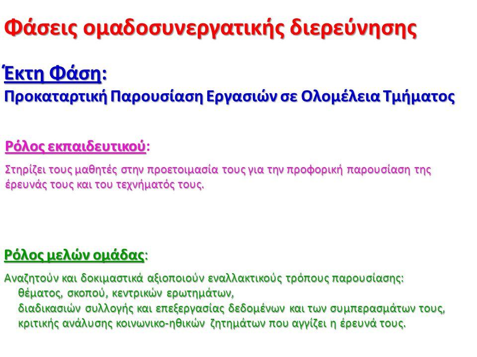 Φάσεις ομαδοσυνεργατικής διερεύνησης Έκτη Φάση: Προκαταρτική Παρουσίαση Εργασιών σε Ολομέλεια Τμήματος Ρόλος εκπαιδευτικού Ρόλος εκπαιδευτικού: Στηρίζ