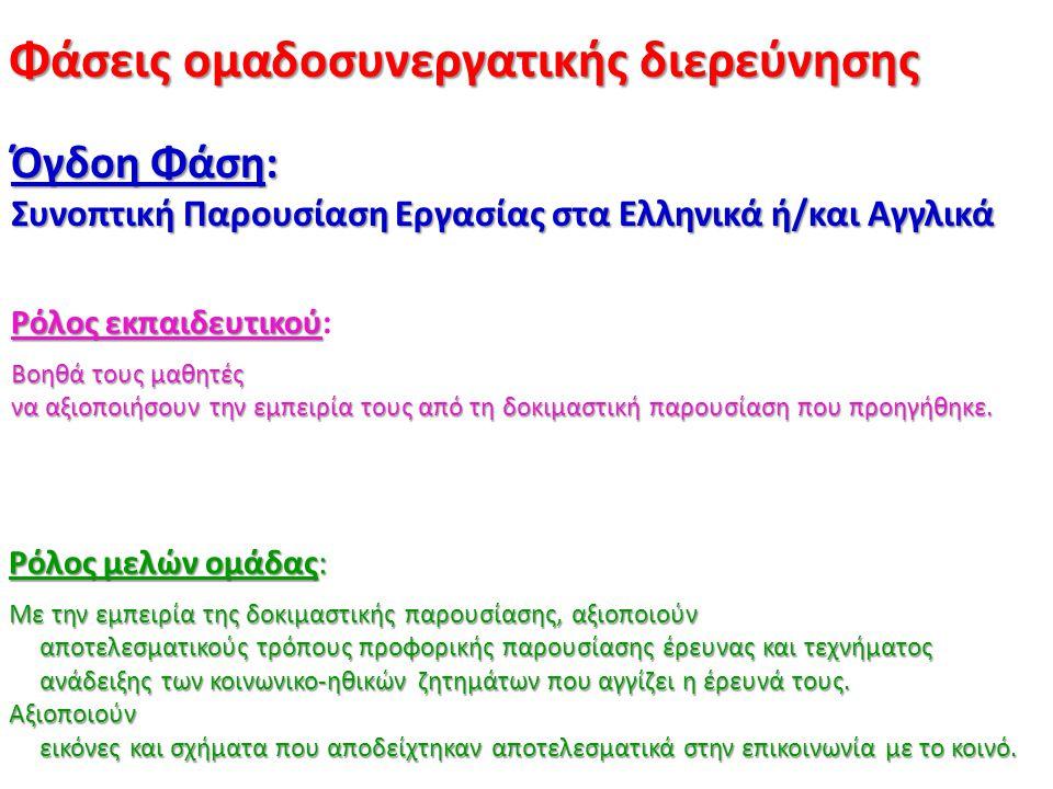 Φάσεις ομαδοσυνεργατικής διερεύνησης Όγδοη Φάση: Συνοπτική Παρουσίαση Εργασίας στα Ελληνικά ή/και Αγγλικά Ρόλος εκπαιδευτικού Ρόλος εκπαιδευτικού: Βοη