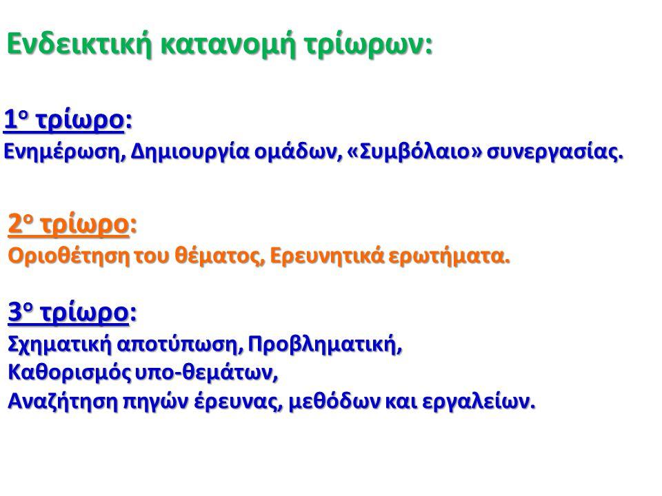 Ενδεικτική κατανομή τρίωρων: 1 ο τρίωρο: Ενημέρωση, Δημιουργία ομάδων, «Συμβόλαιο» συνεργασίας. 2 ο τρίωρο: Οριοθέτηση του θέματος, Ερευνητικά ερωτήμα