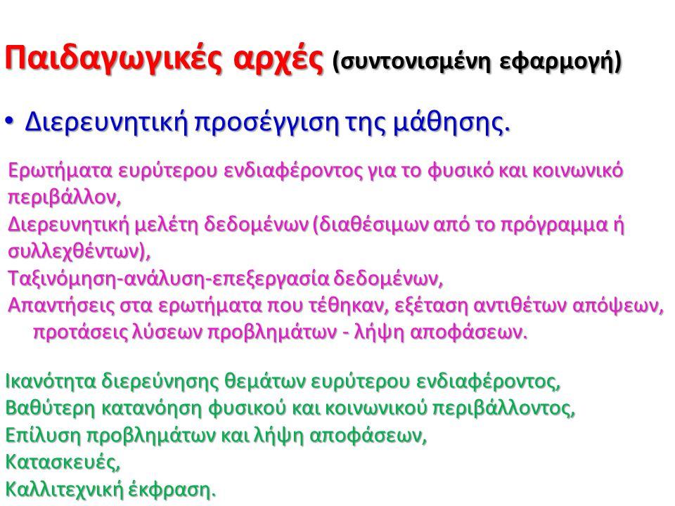 Παιδαγωγικές αρχές (συντονισμένη εφαρμογή) Διεπιστημονική συνεργασία καθηγητών.