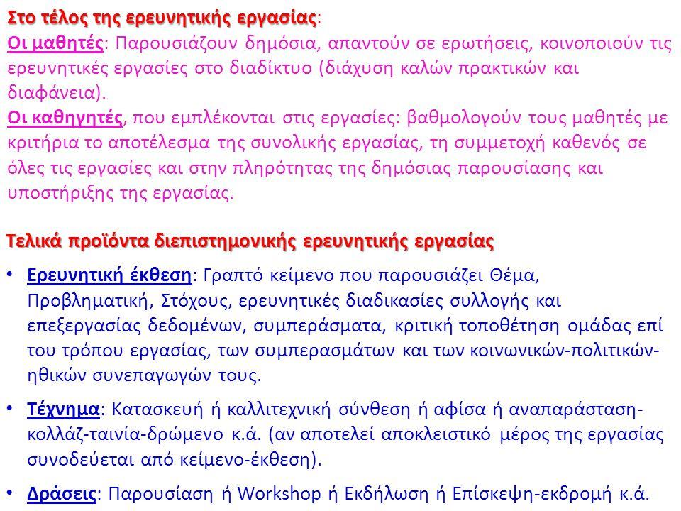 Τελικά προϊόντα διεπιστημονικής ερευνητικής εργασίας Ερευνητική έκθεση: Γραπτό κείμενο που παρουσιάζει Θέμα, Προβληματική, Στόχους, ερευνητικές διαδικ