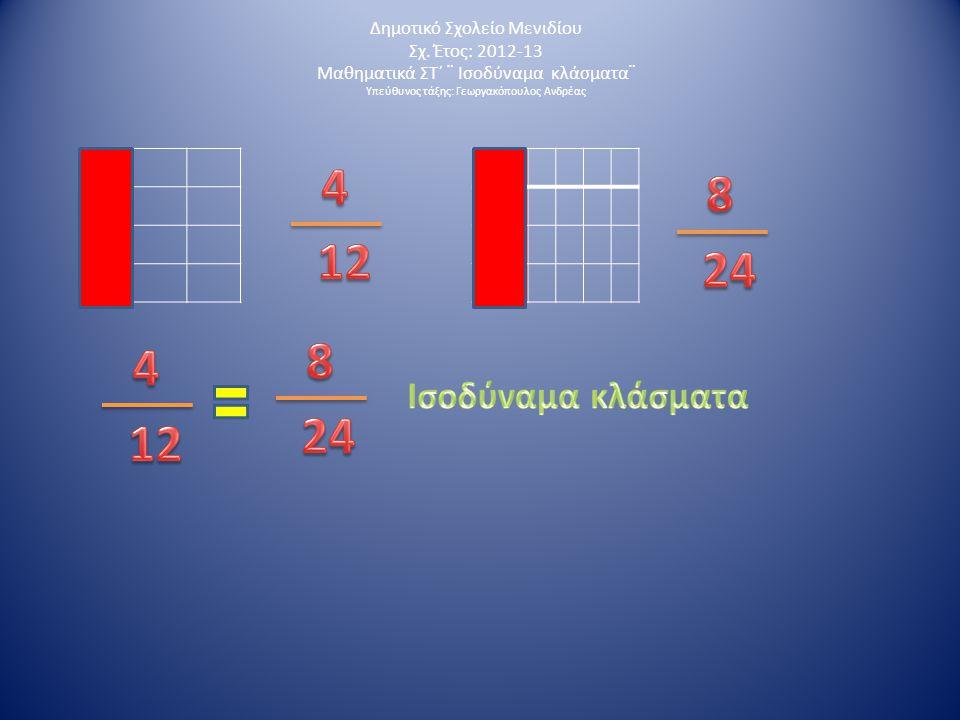 Δημοτικό Σχολείο Μενιδίου Σχ. Έτος: 2012-13 Μαθηματικά ΣΤ΄ ¨ Ισοδύναμα κλάσματα¨ Υπεύθυνος τάξης: Γεωργακόπουλος Ανδρέας