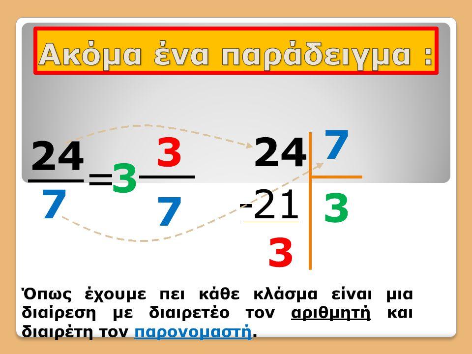 24 7 =3 3 7 7 3 21- 3 Όπως έχουμε πει κάθε κλάσμα είναι μια διαίρεση με διαιρετέο τον αριθμητή και διαιρέτη τον παρονομαστή.