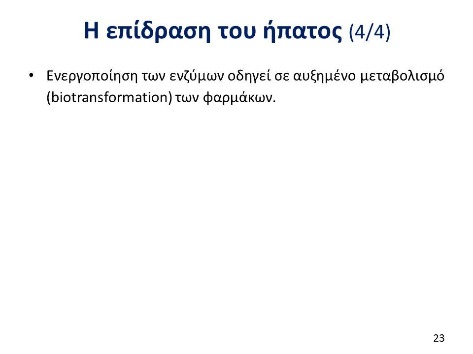 Η επίδραση του ήπατος (4/4) Ενεργοποίηση των ενζύμων οδηγεί σε αυξημένο μεταβολισμό (biotransformation) των φαρμάκων. 23