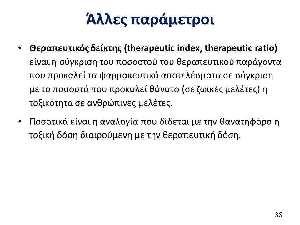 Άλλες παράμετροι Θεραπευτικός δείκτης (therapeutic index, therapeutic ratio) είναι η σύγκριση του ποσοστού του θεραπευτικού παράγοντα που προκαλεί τα