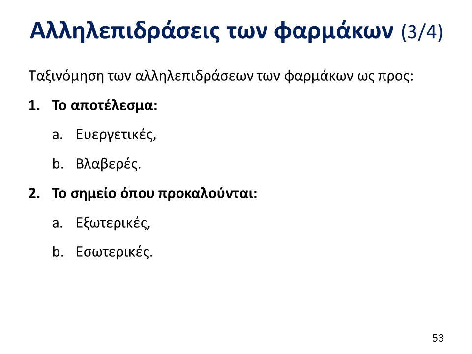 Αλληλεπιδράσεις των φαρμάκων (3/4) Ταξινόμηση των αλληλεπιδράσεων των φαρμάκων ως προς: 1.Το αποτέλεσμα: a.Ευεργετικές, b.Βλαβερές. 2.Το σημείο όπου π