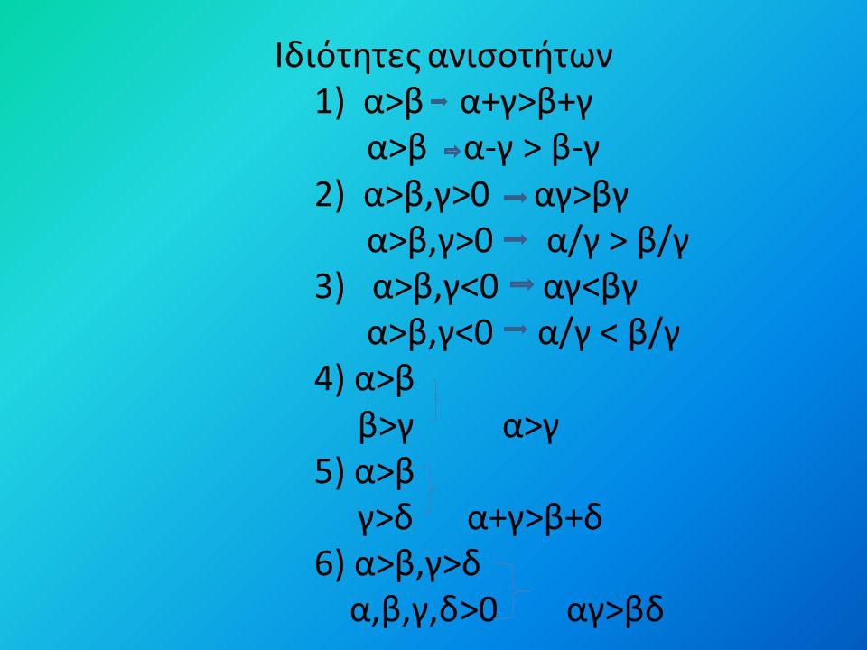 Ιδιότητες ανισοτήτων 1) α>β α+γ>β+γ α>β α-γ > β-γ 2) α>β,γ>0 αγ>βγ α>β,γ>0 α/γ > β/γ 3) α>β,γ β,γ β β>γ α>γ 5) α>β γ>δ α+γ>β+δ 6) α>β,γ>δ α,β,γ,δ>0 αγ