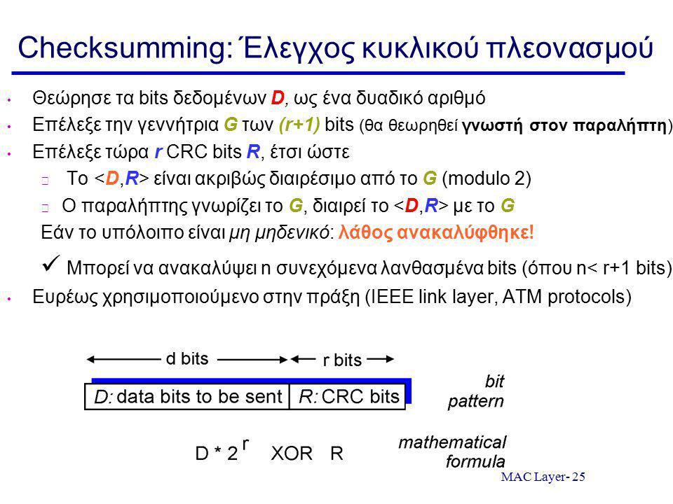 MAC Layer- 25 Checksumming: Έλεγχος κυκλικού πλεονασμού Θεώρησε τα bits δεδομένων D, ως ένα δυαδικό αριθμό Επέλεξε την γεννήτρια G των (r+1) bits (θα θεωρηθεί γνωστή στον παραλήπτη) Επέλεξε τώρα r CRC bits R, έτσι ώστε Το είναι ακριβώς διαιρέσιμο από το G (modulo 2) Ο παραλήπτης γνωρίζει το G, διαιρεί το με το G Εάν το υπόλοιπο είναι μη μηδενικό: λάθος ανακαλύφθηκε.