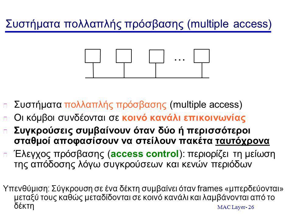 MAC Layer- 26 Συστήματα πολλαπλής πρόσβασης (multiple access) Οι κόμβοι συνδέονται σε κοινό κανάλι επικοινωνίας Συγκρούσεις συμβαίνουν όταν δύο ή περισσότεροι σταθμοί αποφασίσουν να στείλουν πακέτα ταυτόχρονα Έλεγχος πρόσβασης (access control): περιορίζει τη μείωση της απόδοσης λόγω συγκρούσεων και κενών περιόδων Υπενθύμιση: Σύγκρουση σε ένα δέκτη συμβαίνει όταν frames «μπερδεύονται» μεταξύ τους καθώς μεταδίδονται σε κοινό κανάλι και λαμβάνονται από το δέκτη …