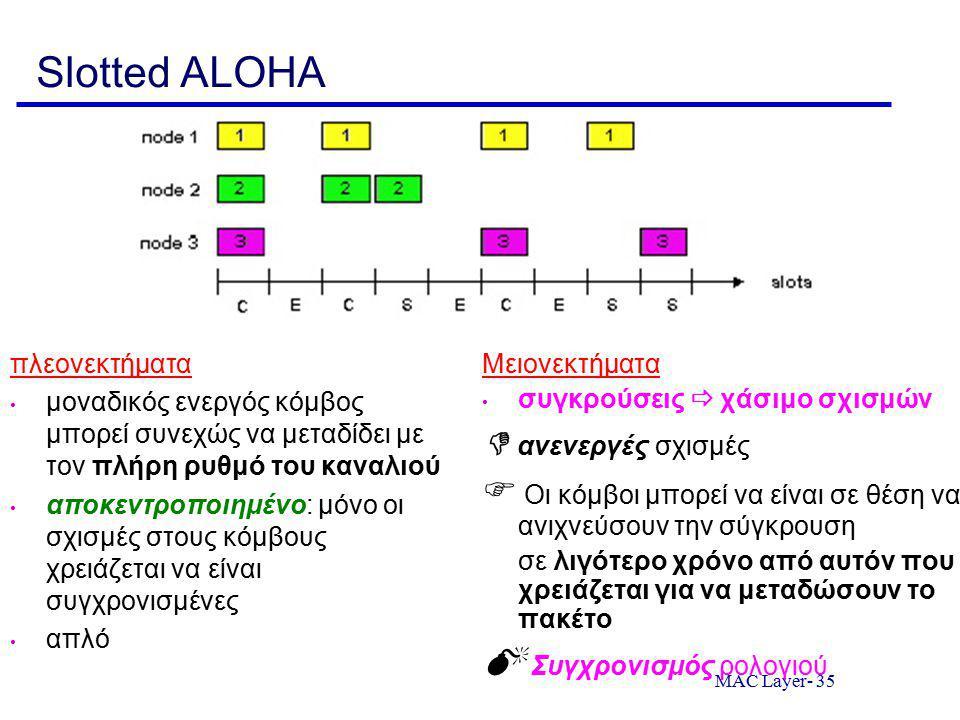 MAC Layer- 35 Slotted ALOHA πλεονεκτήματα μοναδικός ενεργός κόμβος μπορεί συνεχώς να μεταδίδει με τον πλήρη ρυθμό του καναλιού αποκεντροποιημένο: μόνο οι σχισμές στους κόμβους χρειάζεται να είναι συγχρονισμένες απλό Μειονεκτήματα συγκρούσεις  χάσιμο σχισμών  ανενεργές σχισμές  Οι κόμβοι μπορεί να είναι σε θέση να ανιχνεύσουν την σύγκρουση σε λιγότερο χρόνο από αυτόν που χρειάζεται για να μεταδώσουν το πακέτο  Συγχρονισμός ρολογιού
