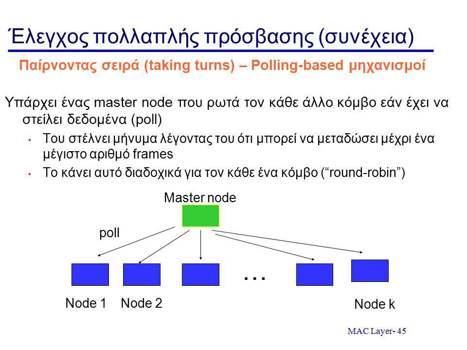 MAC Layer- 45 Έλεγχος πολλαπλής πρόσβασης (συνέχεια) Υπάρχει ένας master node που ρωτά τον κάθε άλλο κόμβο εάν έχει να στείλει δεδομένα (poll) Του στέλνει μήνυμα λέγοντας του ότι μπορεί να μεταδώσει μέχρι ένα μέγιστο αριθμό frames Το κάνει αυτό διαδοχικά για τον κάθε ένα κόμβο ( round-robin ) Παίρνοντας σειρά (taking turns) – Polling-based μηχανισμοί Node 1Node 2 Node k Master node poll …