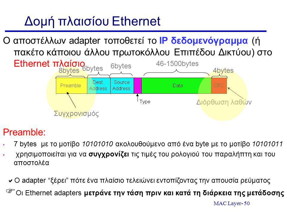 MAC Layer- 50 Δομή πλαισίου Ethernet Ο αποστέλλων adapter τοποθετεί το IP δεδομενόγραμμα (ή πακέτο κάποιου άλλου πρωτοκόλλου Επιπέδου Δικτύου) στο Ethernet πλαίσιο Preamble: 7 bytes με το μοτίβο 10101010 ακολουθούμενο από ένα byte με το μοτίβο 10101011 χρησιμοποιείται για να συγχρονίζει τις τιμές του ρολογιού του παραλήπτη και του αποστολέα Διόρθωση λαθών Συγχρονισμός 6bytes 46-1500bytes 4bytes8bytes  Ο adapter ξέρει πότε ένα πλαίσιο τελειώνει εντοπίζοντας την απουσία ρεύματος  Οι Ethernet adapters μετράνε την τάση πριν και κατά τη διάρκεια της μετάδοσης