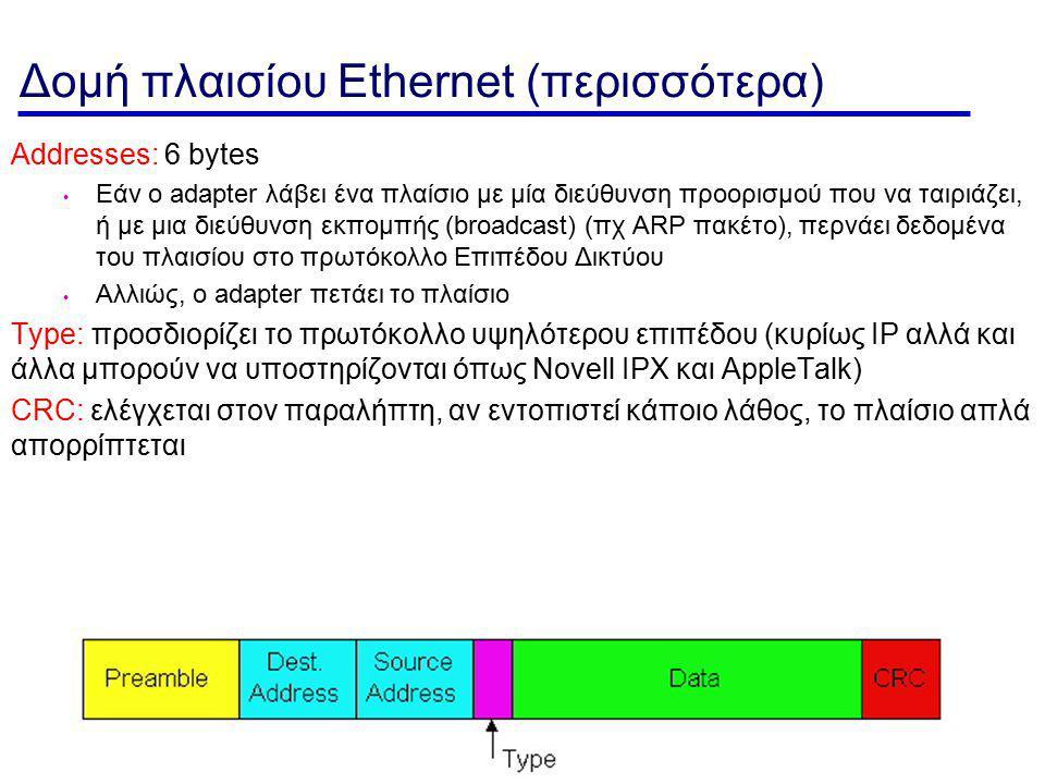 MAC Layer- 51 Δομή πλαισίου Ethernet (περισσότερα) Addresses: 6 bytes Εάν ο adapter λάβει ένα πλαίσιο με μία διεύθυνση προορισμού που να ταιριάζει, ή με μια διεύθυνση εκπομπής (broadcast) (πχ ARP πακέτο), περνάει δεδομένα του πλαισίου στο πρωτόκολλο Επιπέδου Δικτύου Αλλιώς, ο adapter πετάει το πλαίσιο Type: προσδιορίζει το πρωτόκολλο υψηλότερου επιπέδου (κυρίως IP αλλά και άλλα μπορούν να υποστηρίζονται όπως Novell IPX και AppleTalk) CRC: ελέγχεται στον παραλήπτη, αν εντοπιστεί κάποιο λάθος, το πλαίσιο απλά απορρίπτεται
