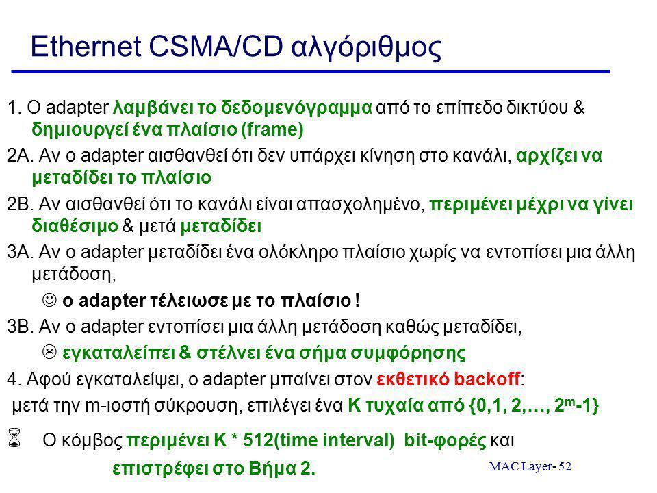 MAC Layer- 52 Ethernet CSMA/CD αλγόριθμος 1. Ο adapter λαμβάνει το δεδομενόγραμμα από το επίπεδο δικτύου & δημιουργεί ένα πλαίσιο (frame) 2A. Αν ο ada