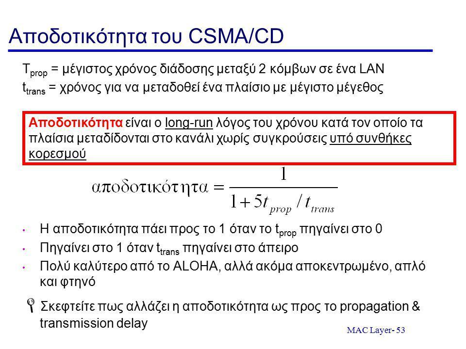 MAC Layer- 53 Αποδοτικότητα του CSMA/CD T prop = μέγιστος χρόνος διάδοσης μεταξύ 2 κόμβων σε ένα LAN t trans = χρόνος για να μεταδοθεί ένα πλαίσιο με μέγιστο μέγεθος Η αποδοτικότητα πάει προς το 1 όταν το t prop πηγαίνει στο 0 Πηγαίνει στο 1 όταν t trans πηγαίνει στο άπειρο Πολύ καλύτερο από το ALOHA, αλλά ακόμα αποκεντρωμένο, απλό και φτηνό  Σκεφτείτε πως αλλάζει η αποδοτικότητα ως προς το propagation & transmission delay Αποδοτικότητα είναι ο long-run λόγος του χρόνου κατά τον οποίο τα πλαίσια μεταδίδονται στο κανάλι χωρίς συγκρούσεις υπό συνθήκες κορεσμού