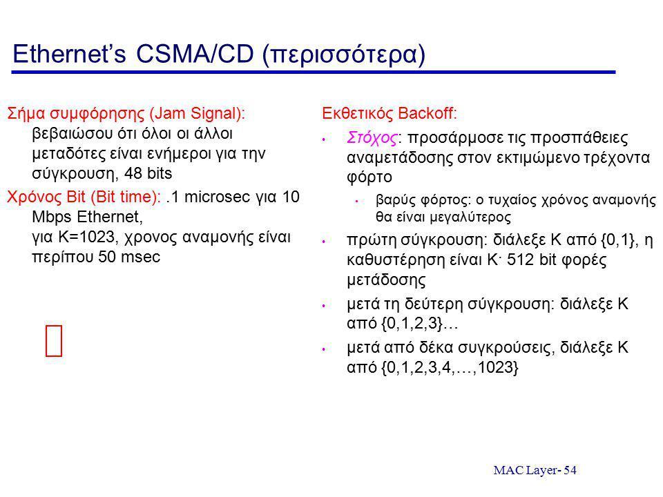 MAC Layer- 54 Ethernet's CSMA/CD (περισσότερα) Σήμα συμφόρησης (Jam Signal): βεβαιώσου ότι όλοι οι άλλοι μεταδότες είναι ενήμεροι για την σύγκρουση, 48 bits Χρόνος Bit (Bit time):.1 microsec για 10 Mbps Ethernet, για K=1023, χρονος αναμονής είναι περίπου 50 msec Εκθετικός Backoff: Στόχος: προσάρμοσε τις προσπάθειες αναμετάδοσης στον εκτιμώμενο τρέχοντα φόρτο βαρύς φόρτος: ο τυχαίος χρόνος αναμονής θα είναι μεγαλύτερος πρώτη σύγκρουση: διάλεξε K από {0,1}, η καθυστέρηση είναι K· 512 bit φορές μετάδοσης μετά τη δεύτερη σύγκρουση: διάλεξε K από {0,1,2,3}… μετά από δέκα συγκρούσεις, διάλεξε K από {0,1,2,3,4,…,1023}