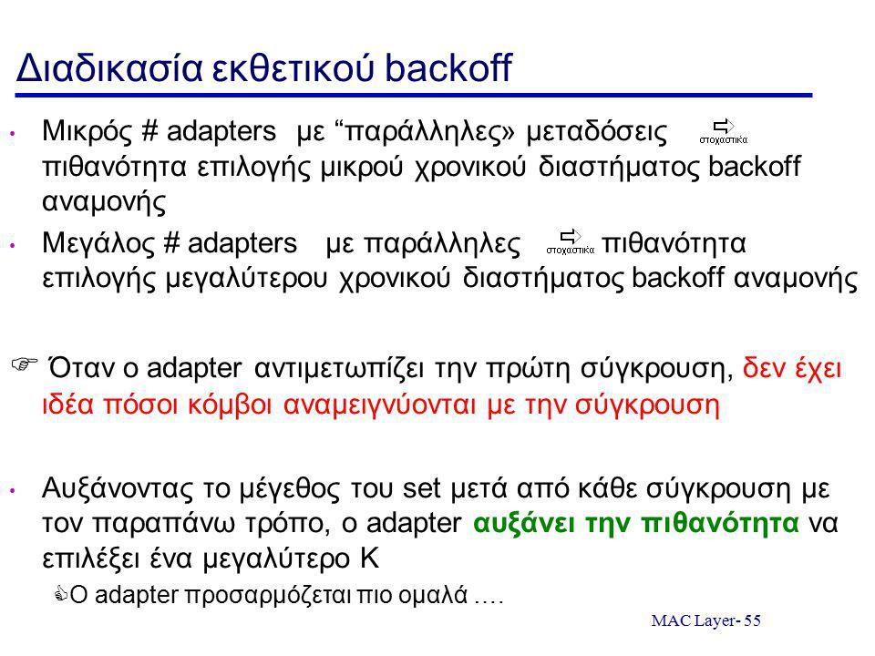 MAC Layer- 55 Διαδικασία εκθετικού backoff Μικρός # adapters με παράλληλες» μεταδόσεις πιθανότητα επιλογής μικρού χρονικού διαστήματος backoff αναμονής Μεγάλος # adapters με παράλληλες πιθανότητα επιλογής μεγαλύτερου χρονικού διαστήματος backoff αναμονής  Όταν ο adapter αντιμετωπίζει την πρώτη σύγκρουση, δεν έχει ιδέα πόσοι κόμβοι αναμειγνύονται με την σύγκρουση Αυξάνοντας το μέγεθος του set μετά από κάθε σύγκρουση με τον παραπάνω τρόπο, ο adapter αυξάνει την πιθανότητα να επιλέξει ένα μεγαλύτερο K  Ο adapter προσαρμόζεται πιο ομαλά ….