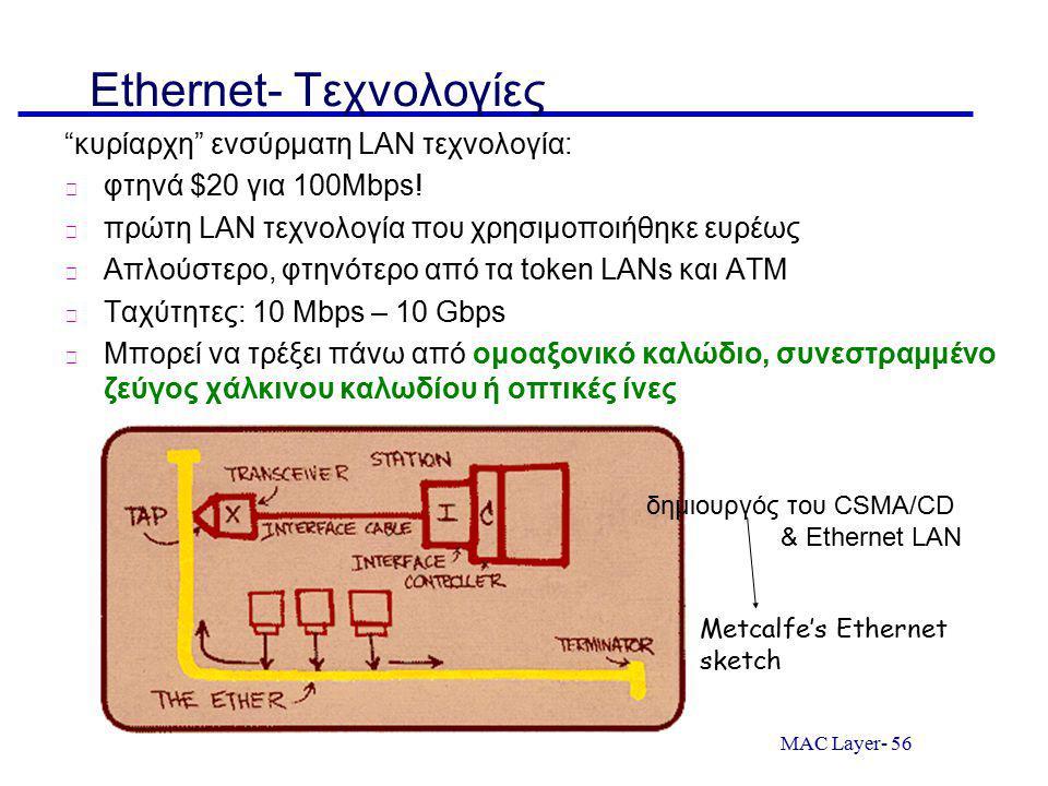 MAC Layer- 56 Ethernet- Τεχνολογίες κυρίαρχη ενσύρματη LAN τεχνολογία: φτηνά $20 για 100Mbps.
