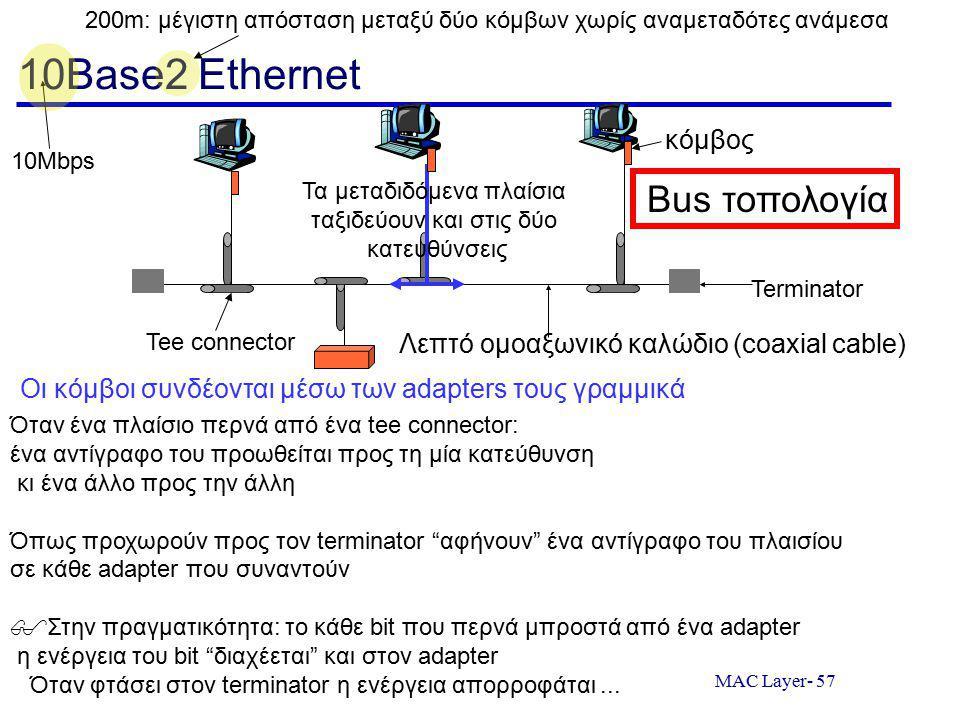 MAC Layer- 57 10Base2 Ethernet Terminator Tee connector Λεπτό ομοαξωνικό καλώδιο (coaxial cable) Bus τοπολογία 200m: μέγιστη απόσταση μεταξύ δύο κόμβων χωρίς αναμεταδότες ανάμεσα 10Mbps Όταν ένα πλαίσιο περνά από ένα tee connector: ένα αντίγραφο του προωθείται προς τη μία κατεύθυνση κι ένα άλλο προς την άλλη Όπως προχωρούν προς τον terminator αφήνουν ένα αντίγραφο του πλαισίου σε κάθε adapter που συναντούν  Στην πραγματικότητα: το κάθε bit που περνά μπροστά από ένα adapter η ενέργεια του bit διαχέεται και στον adapter Όταν φτάσει στον terminator η ενέργεια απορροφάται...