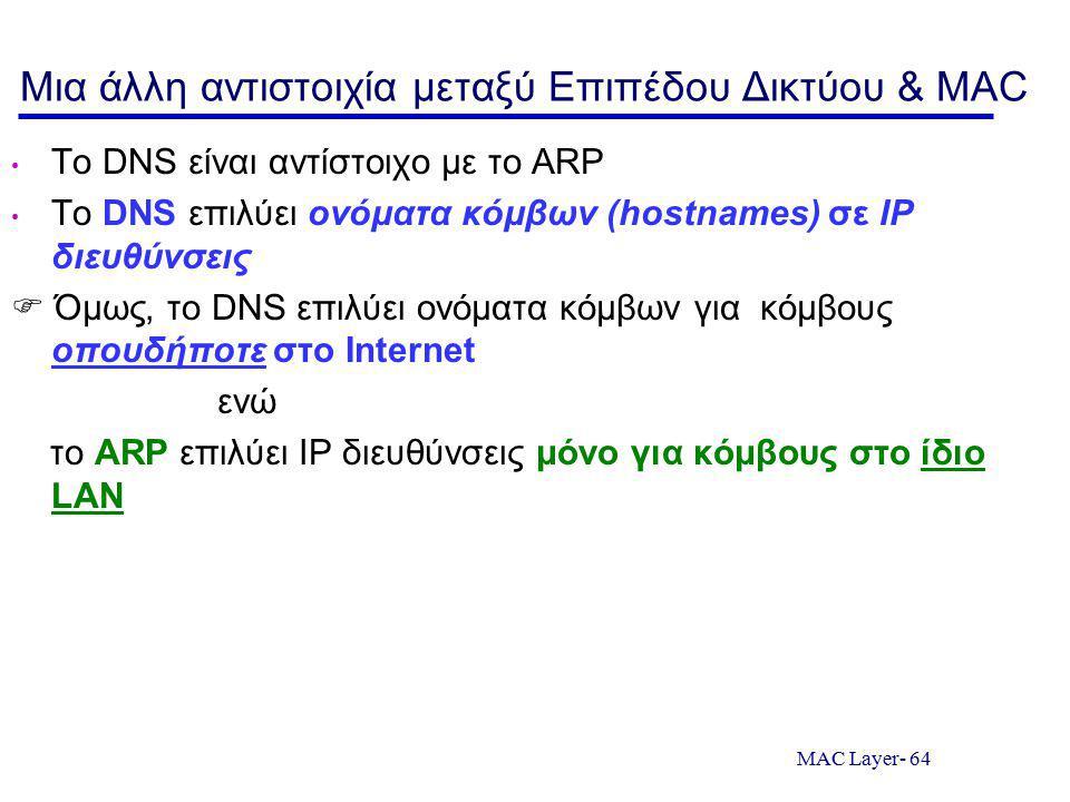 MAC Layer- 64 Μια άλλη αντιστοιχία μεταξύ Επιπέδου Δικτύου & MAC Το DNS είναι αντίστοιχο με το ARP Το DNS επιλύει ονόματα κόμβων (hostnames) σε IP διευθύνσεις  Όμως, το DNS επιλύει ονόματα κόμβων για κόμβους οπουδήποτε στο Internet ενώ το ARP επιλύει IP διευθύνσεις μόνο για κόμβους στο ίδιο LAN