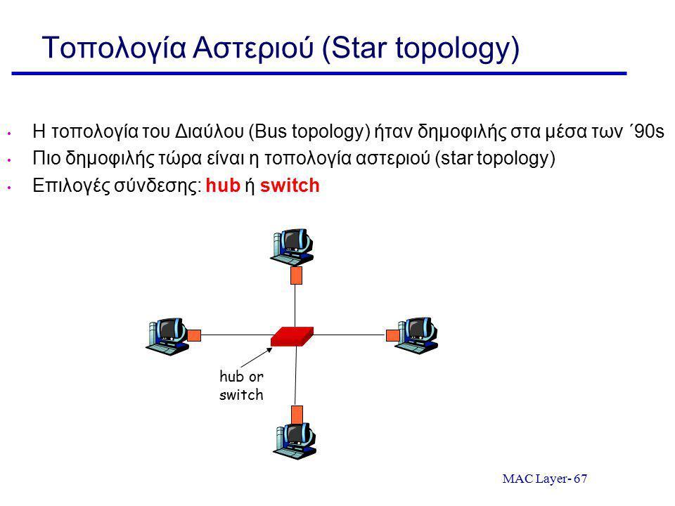 MAC Layer- 67 Τοπολογία Αστεριού (Star topology) Η τοπολογία του Διαύλου (Bus topology) ήταν δημοφιλής στα μέσα των ΄90s Πιο δημοφιλής τώρα είναι η τοπολογία αστεριού (star topology) Επιλογές σύνδεσης: hub ή switch hub or switch
