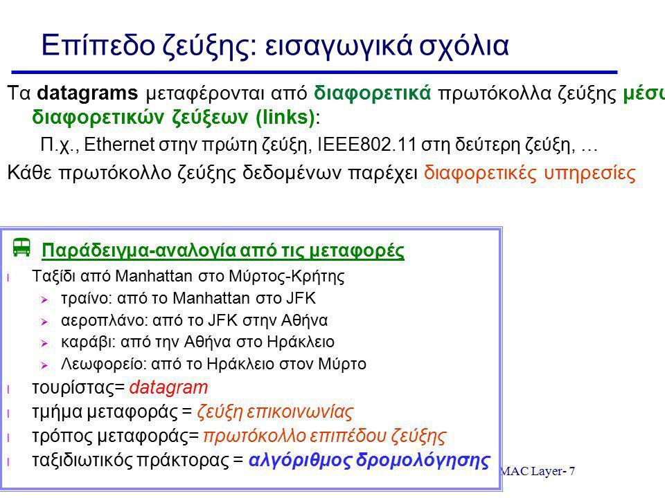 MAC Layer- 7 Επίπεδο ζεύξης: εισαγωγικά σχόλια Τα datagrams μεταφέρονται από διαφορετικά πρωτόκολλα ζεύξης μέσω διαφορετικών ζεύξεων (links): Π.χ., Et