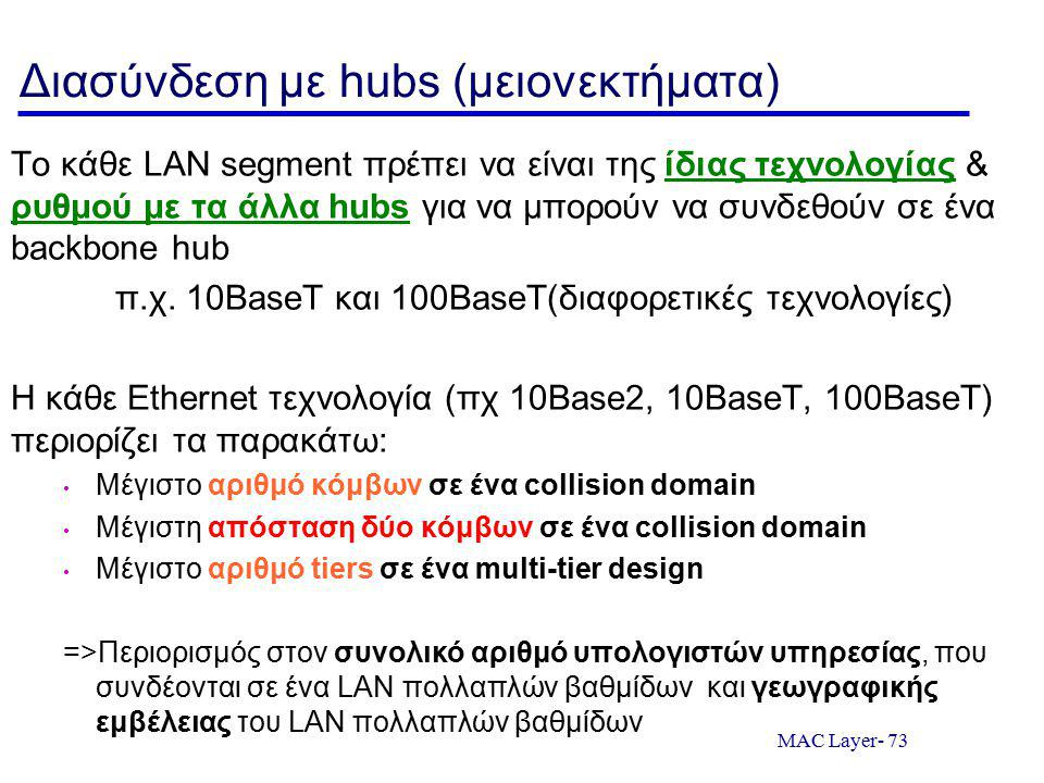 MAC Layer- 73 Διασύνδεση με hubs (μειονεκτήματα) Το κάθε LAN segment πρέπει να είναι της ίδιας τεχνολογίας & ρυθμού με τα άλλα hubs για να μπορούν να συνδεθούν σε ένα backbone hub π.χ.