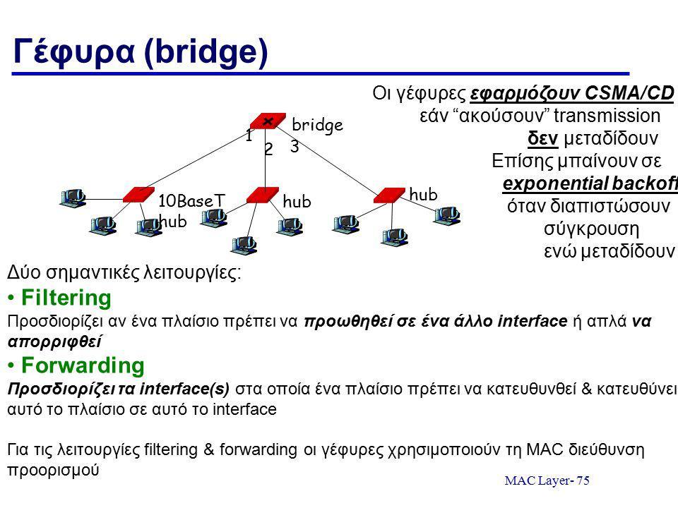MAC Layer- 75 Γέφυρα (bridge) 10BaseT hub hub bridge 1 2 3 Δύο σημαντικές λειτουργίες: Filtering Προσδιορίζει αν ένα πλαίσιο πρέπει να προωθηθεί σε ένα άλλο interface ή απλά να απορριφθεί Forwarding Προσδιορίζει τα interface(s) στα οποία ένα πλαίσιο πρέπει να κατευθυνθεί & κατευθύνει αυτό το πλαίσιο σε αυτό το interface Για τις λειτουργίες filtering & forwarding οι γέφυρες χρησιμοποιούν τη MAC διεύθυνση προορισμού Οι γέφυρες εφαρμόζουν CSMA/CD εάν ακούσουν transmission δεν μεταδίδουν Επίσης μπαίνουν σε exponential backoff όταν διαπιστώσουν σύγκρουση ενώ μεταδίδουν