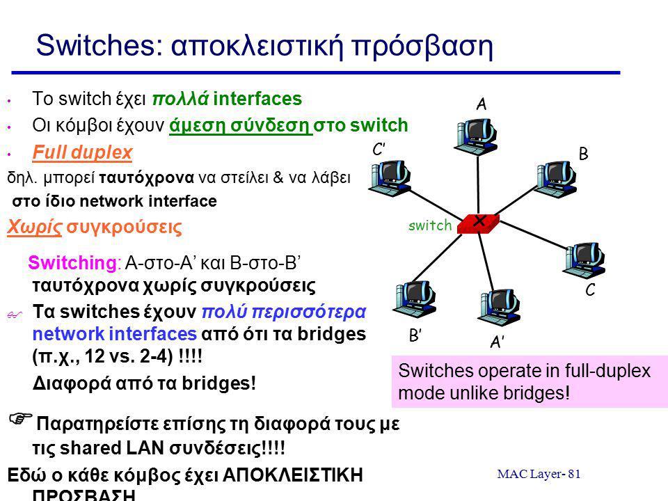MAC Layer- 81 Switches: αποκλειστική πρόσβαση Το switch έχει πολλά interfaces Οι κόμβοι έχουν άμεση σύνδεση στο switch Full duplex δηλ. μπορεί ταυτόχρ