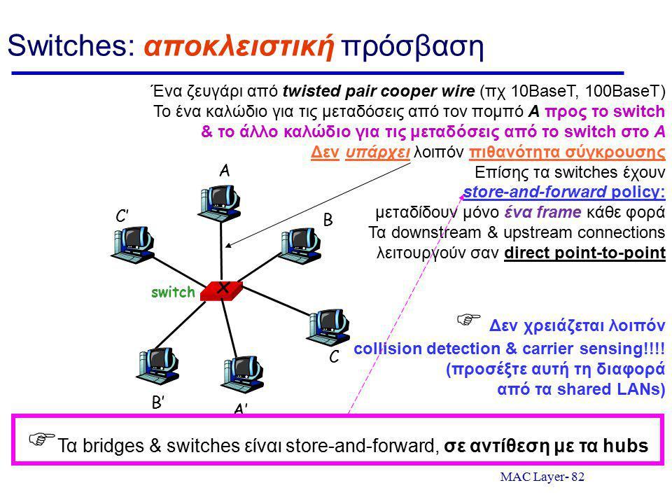MAC Layer- 82 Switches: αποκλειστική πρόσβαση switch A A' B B' C C' Ένα ζευγάρι από twisted pair cooper wire (πχ 10BaseT, 100BaseT) Το ένα καλώδιο για τις μεταδόσεις από τον πομπό Α προς το switch & το άλλο καλώδιο για τις μεταδόσεις από το switch στο Α Δεν υπάρχει λοιπόν πιθανότητα σύγκρουσης Επίσης τα switches έχουν store-and-forward policy: μεταδίδουν μόνο ένα frame κάθε φορά Τα downstream & upstream connections λειτουργούν σαν direct point-to-point  Δεν χρειάζεται λοιπόν collision detection & carrier sensing!!!.
