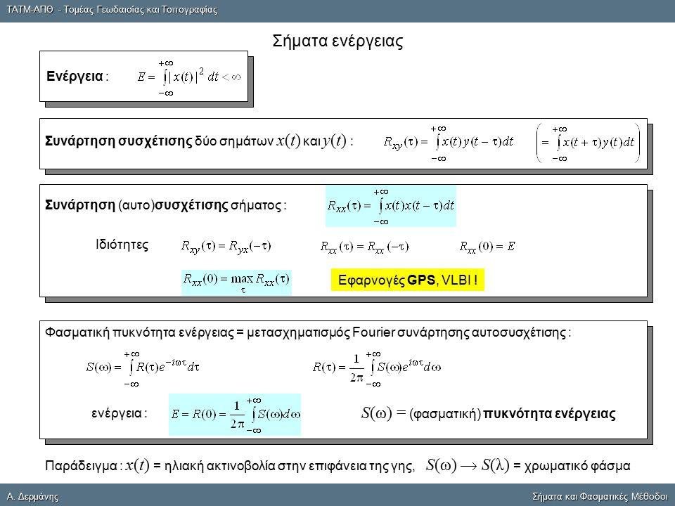 ΤΑΤΜ-ΑΠΘ - Τομέας Γεωδαισίας και Τοπογραφίας A. ΔερμάνηςΣήματα και Φασματικές Μέθοδοι A. Δερμάνης Σήματα και Φασματικές Μέθοδοι Σήματα ενέργειας Ενέργ