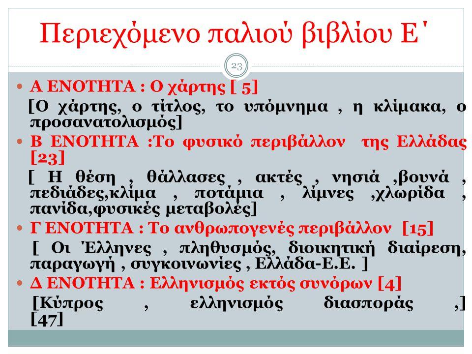 23 Περιεχόμενο παλιού βιβλίου Ε΄ Α ΕΝΟΤΗΤΑ : Ο χάρτης [ 5] [Ο χάρτης, ο τίτλος, το υπόμνημα, η κλίμακα, ο προσανατολισμός] Β ΕΝΟΤΗΤΑ :Το φυσικό περιβάλλον της Ελλάδας [23] [ Η θέση, θάλλασες, ακτές, νησιά,βουνά, πεδιάδες,κλίμα, ποτάμια, λίμνες,χλωρίδα, πανίδα,φυσικές μεταβολές] Γ ΕΝΟΤΗΤΑ : Το ανθρωπογενές περιβάλλον [15] [ Οι Έλληνες, πληθυσμός, διοικητική διαίρεση, παραγωγή, συγκοινωνίες, Ελλάδα-Ε.Ε.