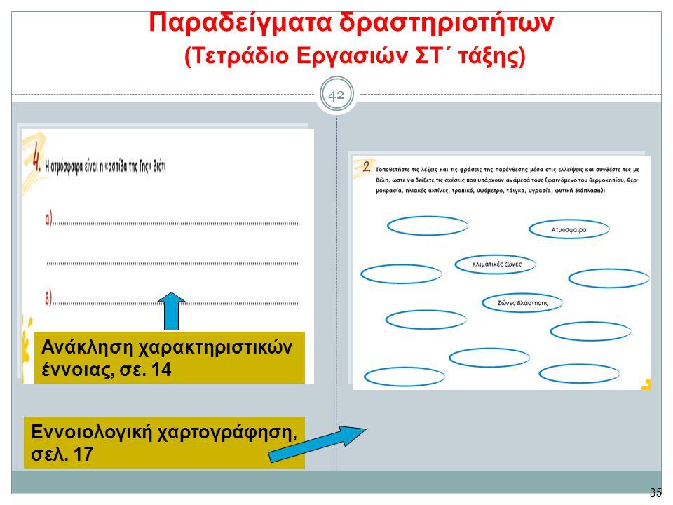 42 Παραδείγματα δραστηριοτήτων (Τετράδιο Εργασιών ΣΤ΄ τάξης) 42 Ανάκληση χαρακτηριστικών έννοιας, σε.