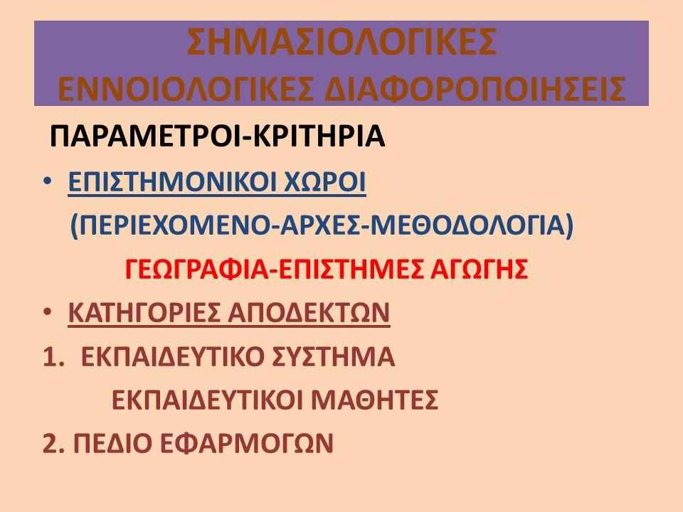 ΣΗΜΑΣΙΟΛΟΓΙΚΕΣ ΕΝΝΟΙΟΛΟΓΙΚΕΣ ΔΙΑΦΟΡΟΠΟΙΗΣΕΙΣ ΠΑΡΑΜΕΤΡΟΙ-ΚΡΙΤΗΡΙΑ ΕΠΙΣΤΗΜΟΝΙΚΟΙ ΧΩΡΟΙ (ΠΕΡΙΕΧΟΜΕΝΟ-ΑΡΧΕΣ-ΜΕΘΟΔΟΛΟΓΙΑ) ΓΕΩΓΡΑΦΙΑ-ΕΠΙΣΤΗΜΕΣ ΑΓΩΓΗΣ ΚΑΤΗΓΟ