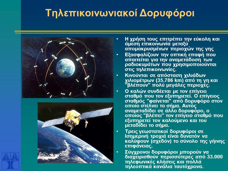 Τηλεπικοινωνιακοί Δορυφόροι Η χρήση τους επιτρέπει την εύκολη και άμεση επικοινωνία μεταξύ απομακρυσμένων περιοχών της γης Εξασφαλίζουν την οπτική επα