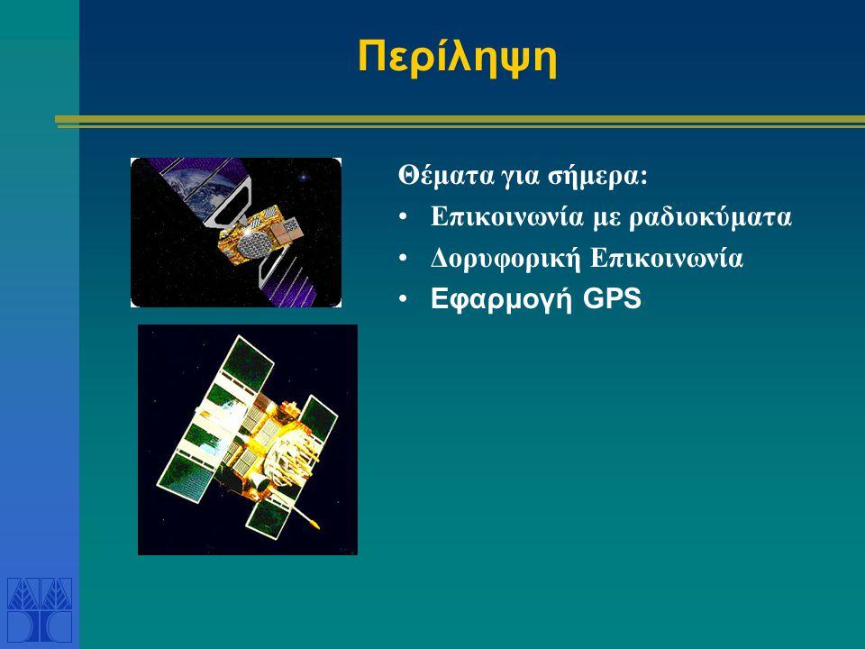 Περίληψη Θέματα για σήμερα: Επικοινωνία με ραδιοκύματα Δορυφορική Επικοινωνία Εφαρμογή GPS